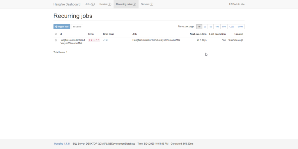 hangfire recurring dash Hangfire in ASP.NET Core 3.1 - Background Jobs Made Easy