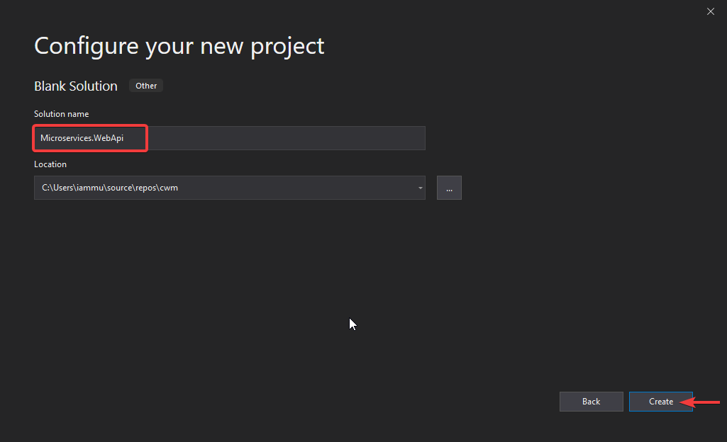 configure new project Microservice Architecture in ASP.NET Core with API Gateway