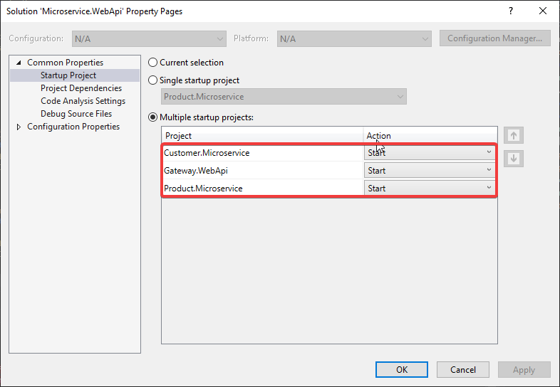 multiple starup projects Microservice Architecture in ASP.NET Core with API Gateway